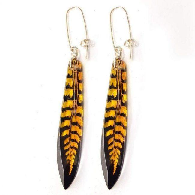 Black and Amber Fern Drop Earrings