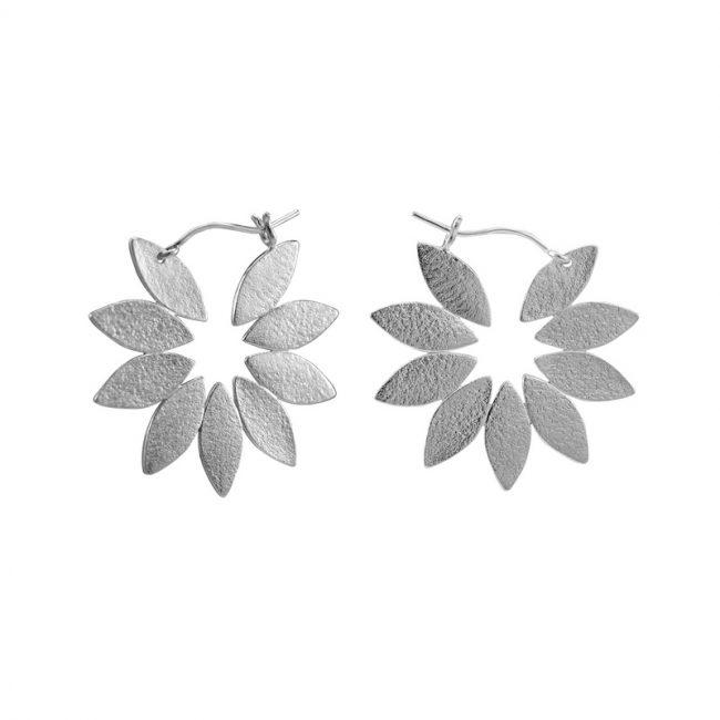 Icarus Fanned Hoop Earrings in silver