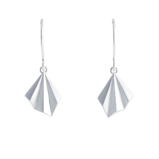 Silver pleated hook earrings by Alice Barnes