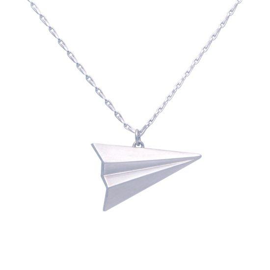 Silver paper plane pendant by Alice Barnes