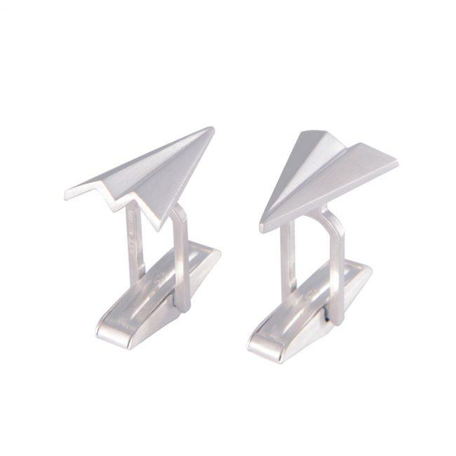 Silver paper planes cufflinks
