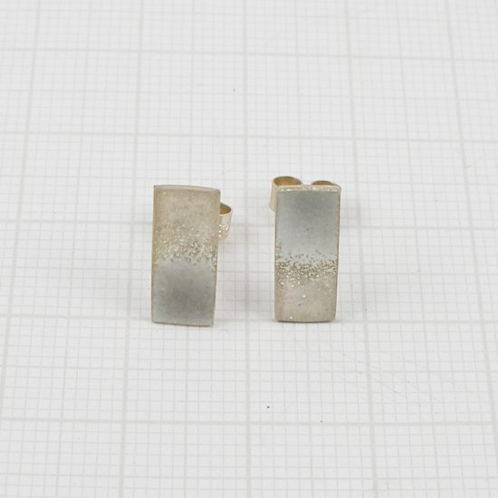 Silver and enamel rectangular stud earrings by Annabet Wyndham