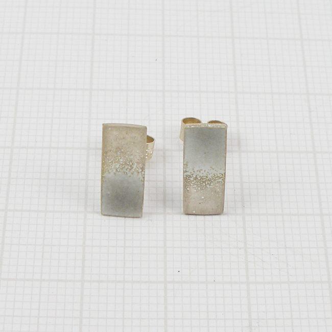Silver and enamel rectangular stud earrings by Annabet Wyndham