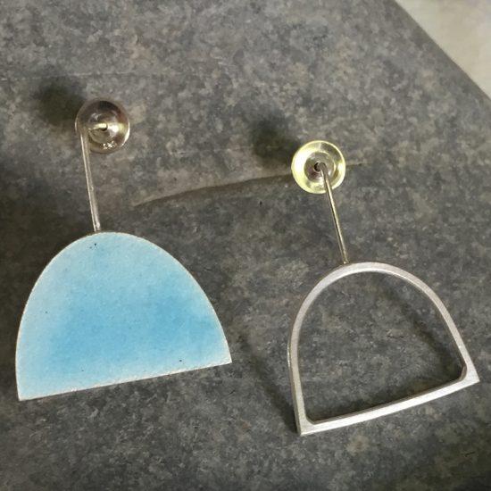 Irregular half oval earrings in silver & enamel by Annabet Wyndham