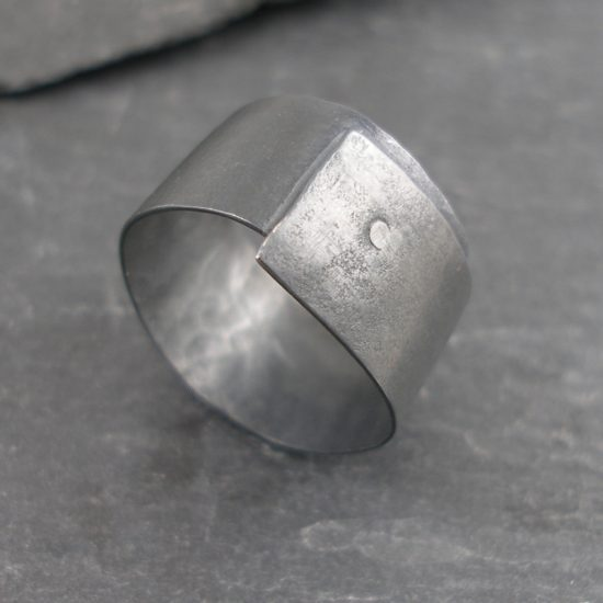 Oxidised silver riveted ring by Hilary Brown