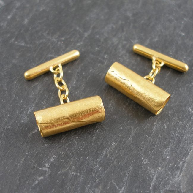 Gold vermeil Tubes cufflinks by Hilary Brown