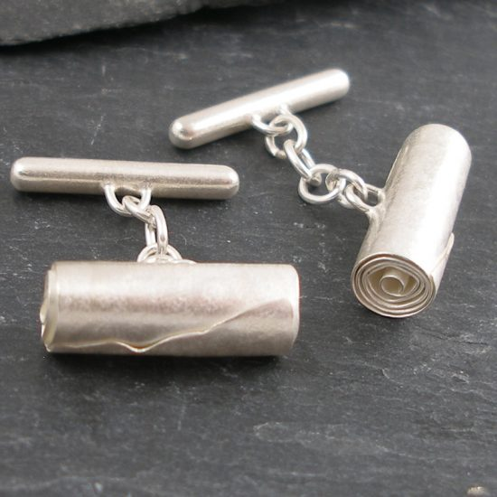 Silver Tube cufflinks by Hilary Brown