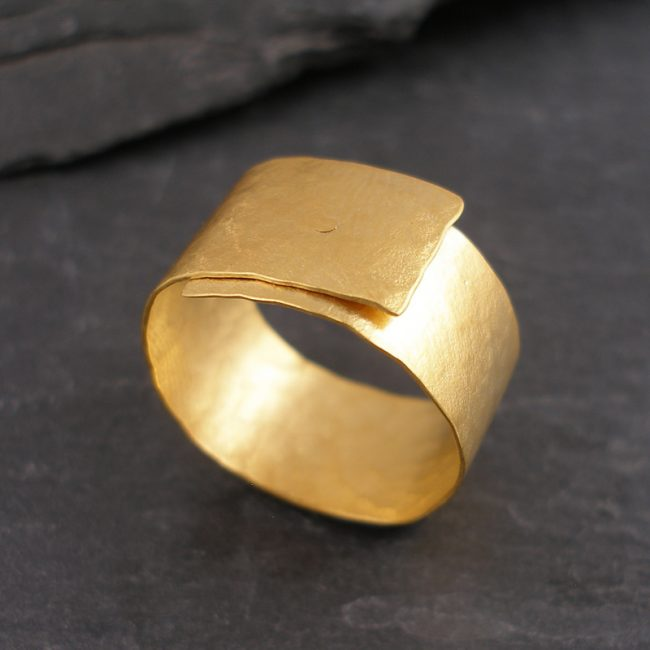 Gold vermeil riveted ring by Hilary Brown