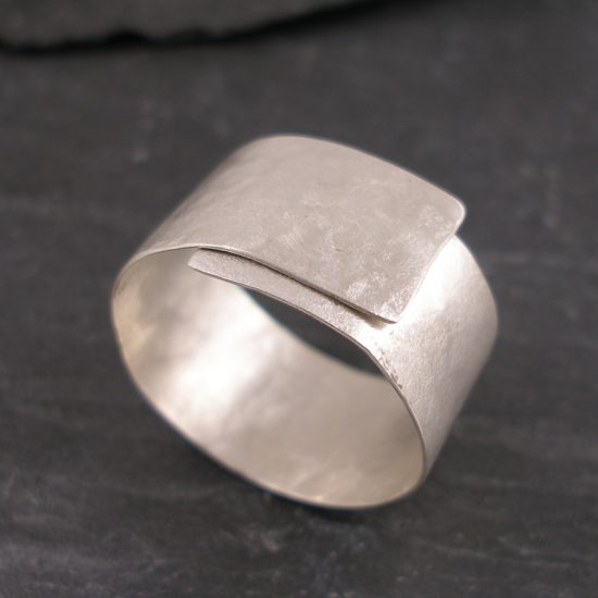 Silver riveted ring by Hilary Brown