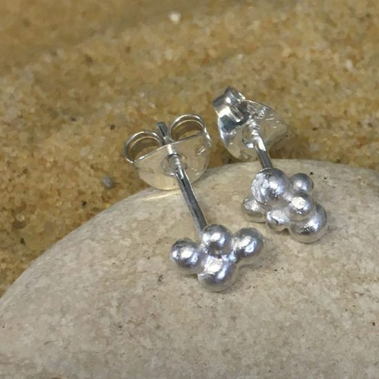 Silver granule stud earrings by Milly Munday
