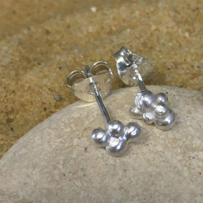 Silver granule stud earrings by Milly Munday
