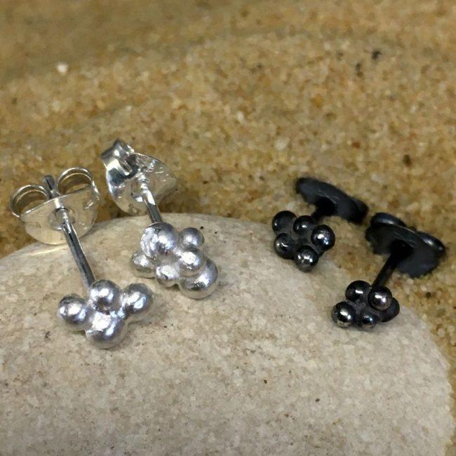 Granule stud earrings in silver by Milly Munday