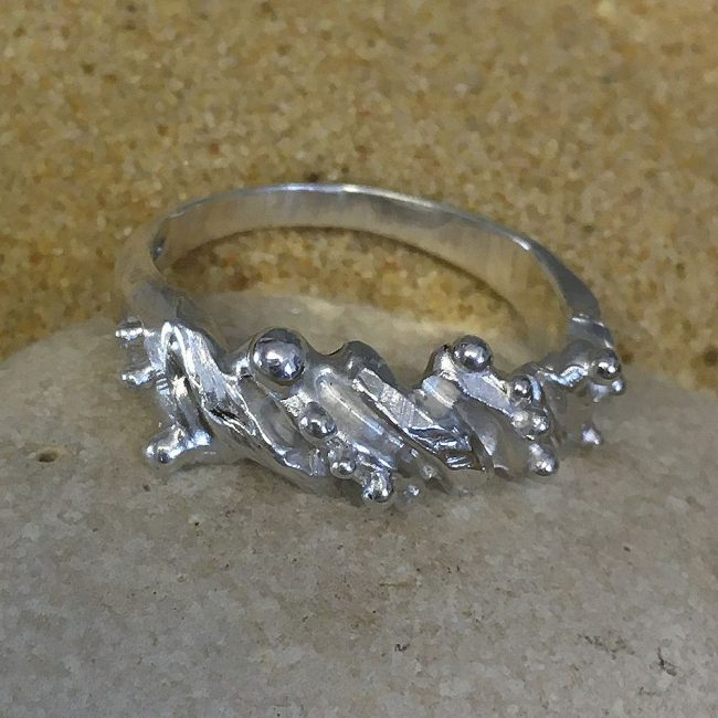 Silver shell ring by Milly Munday