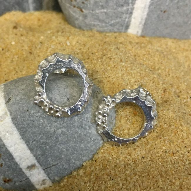 Silver Mini Limpet Stud Earrings by Milly Munday