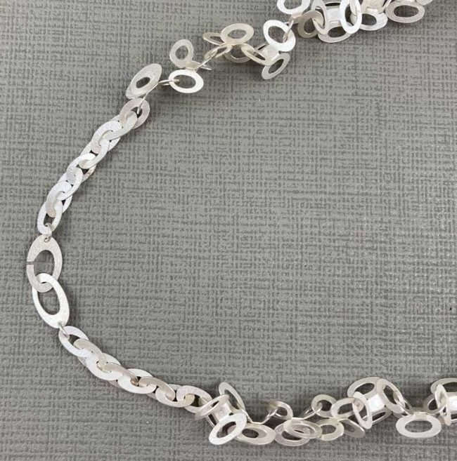 Ovals Clusters silver necklace by Hilary Brown