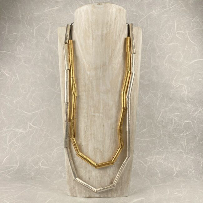 Tubes necklaces in silver and gold plate by Hilary Brown