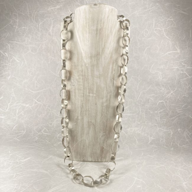 Silver riveted chain necklace by Hilary Brown