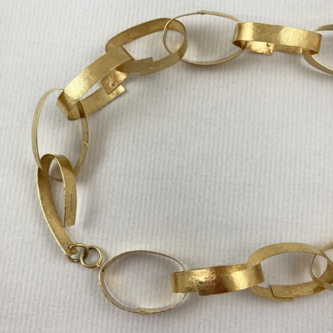 Gold plated riveted chain necklace by Hilary Brown - clasp detail