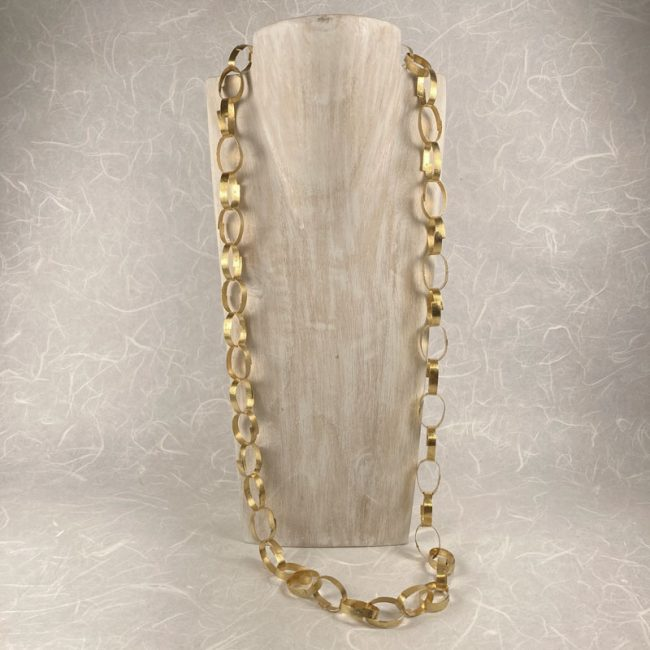 Gold plated riveted chain necklace by Hilary Brown