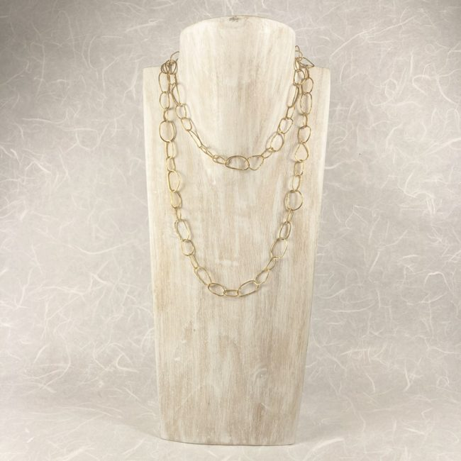 Irregular Ovals chain necklace in gold plated silver by Hilary Brown