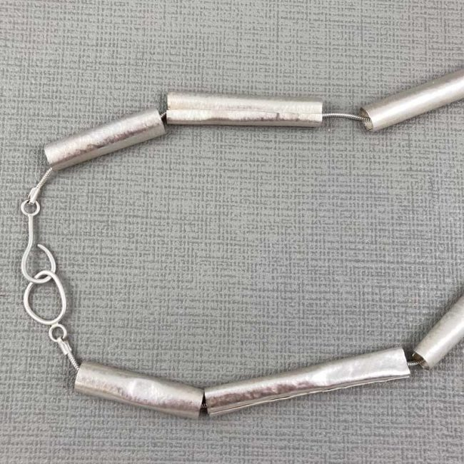 Silver Tubes necklace, clasp detail, by Hilary Brown