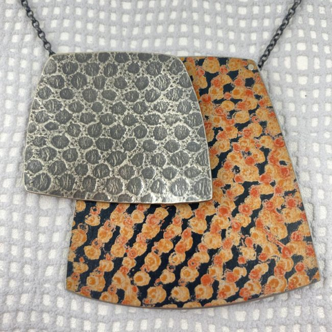 Large Double Squares textured silver and orange Spot Necklace by Penny Warren