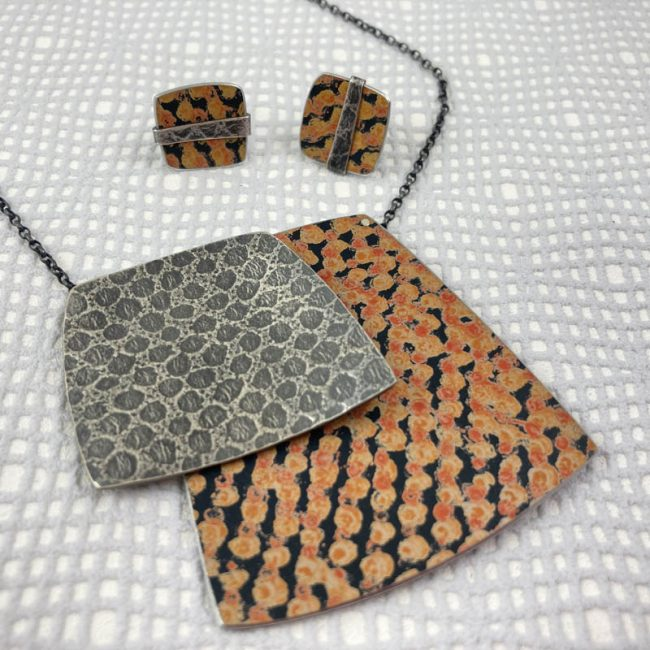 Textured silver and Orange spot jewellery - necklace and earrings - by Penny Warren