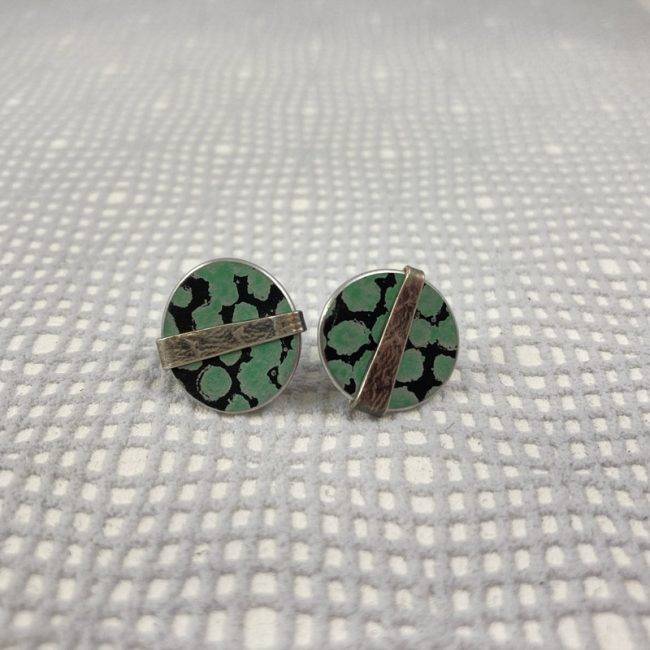 Round green spot stud earrings with textured silver band by Penny Warren