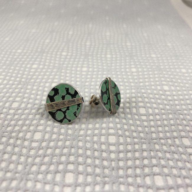 Round green spot stud earrings by Penny Warren