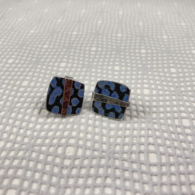 Square blue spot stud earrings with textured silver band by Penny Warren
