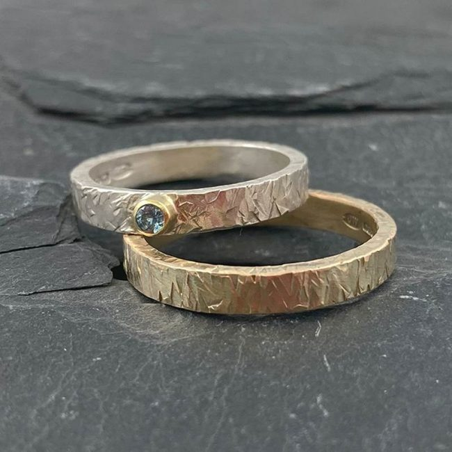 Textured rings by Jenifer Wall - silver, 18ct gold & aquamarine ring and 9ct yellow band