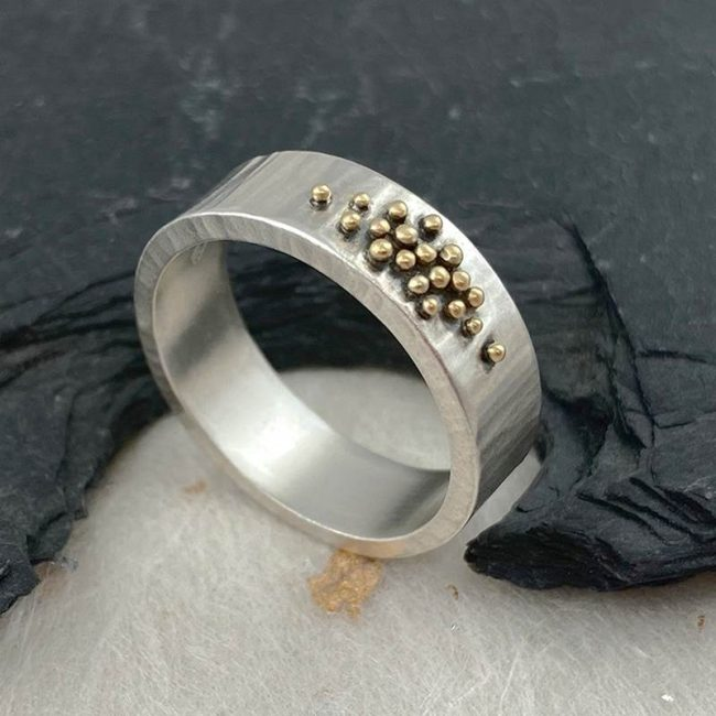 Silver hammered band with 18ct gold granules by Jenifer Wall