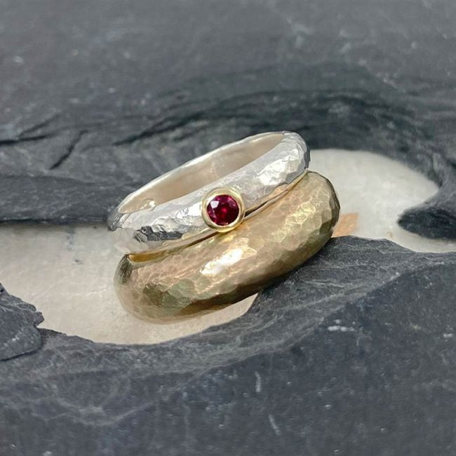 D-shaped hammered rings by Jenifer Wall