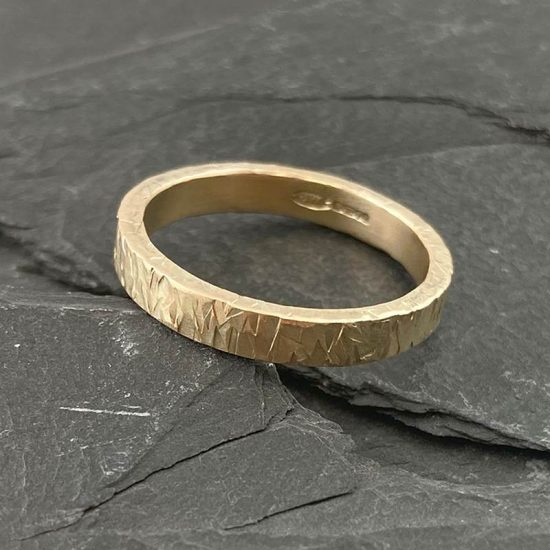 Textured 9ct gold flat band by Jenifer Wall