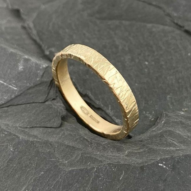Textured 9ct gold flat band by Jenifer Wall