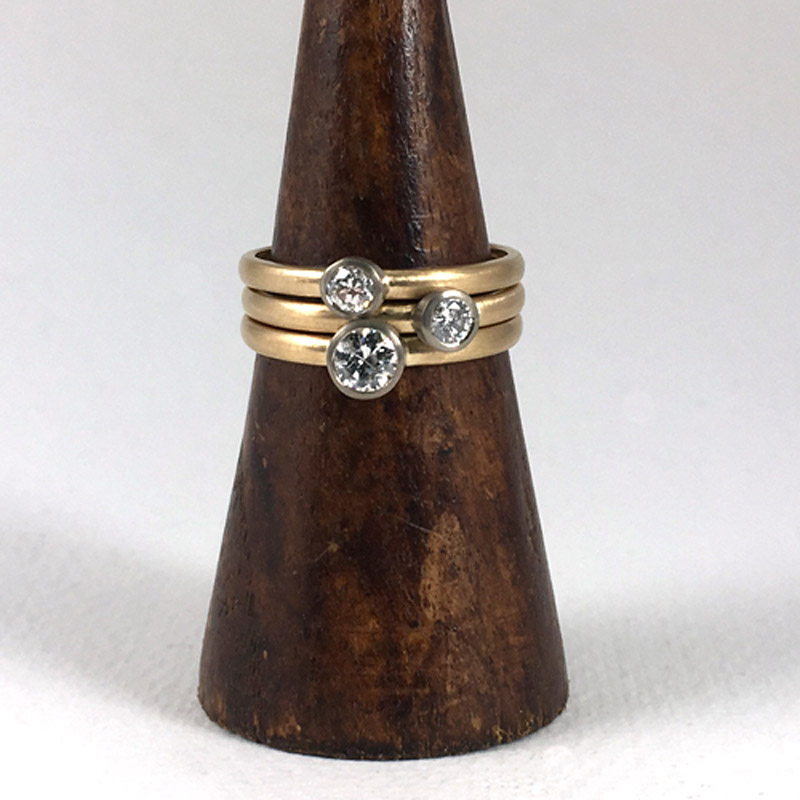 Recycled 18ct gold and diamond ring set