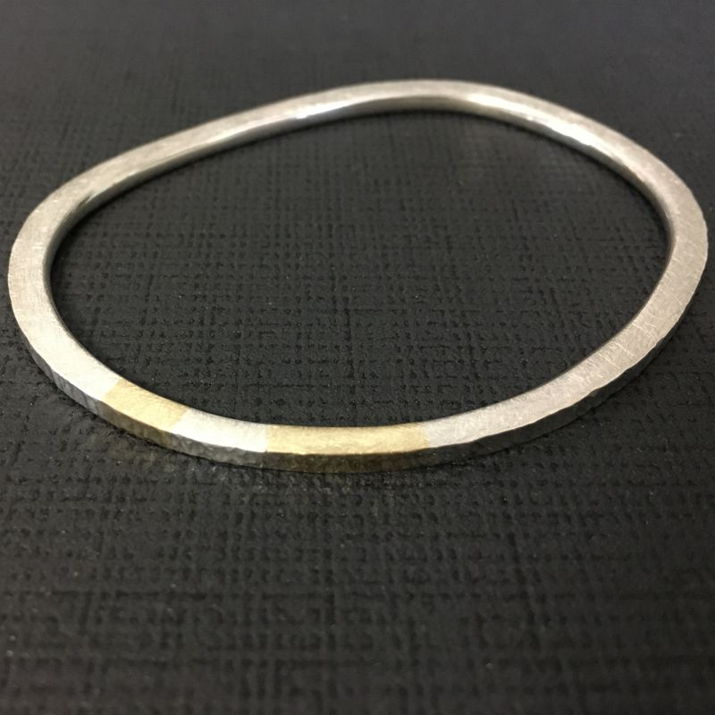 Recycled silver and gold bangle