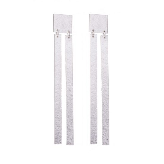 Statement double slatted silver earrings by Lucy Thompson