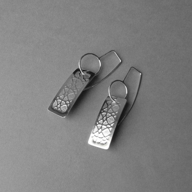 Silver rectangular 'print' drop earrings by Rebecca Halstead