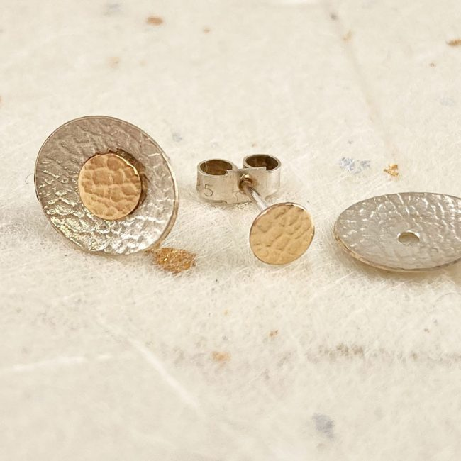 Small silver oval earrings with detachable 14ct gold filled studs by Rebecca Halstead