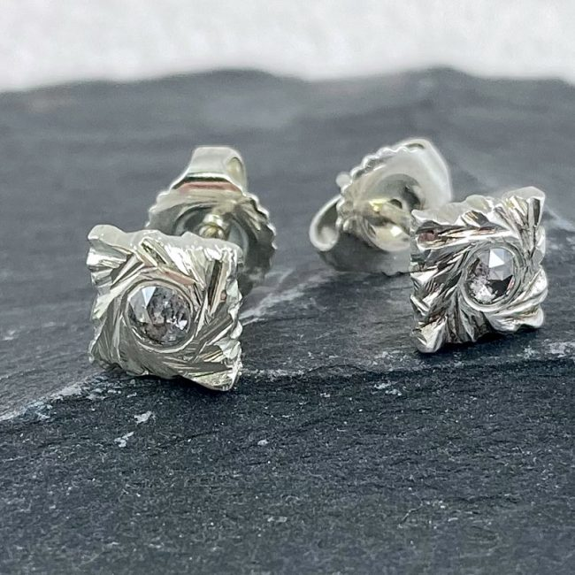 Square Rock silver stud earrings with salt and pepper diamonds by Hannah Felicity Dunne