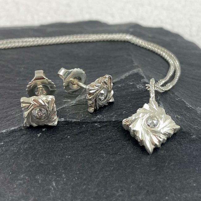 Silver Square Rocks jewellery with diamonds by Hannah Felicity Dunne