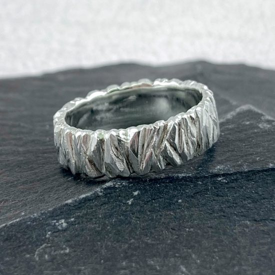 Wide Rock silver ring by Hannah Felicity Dunne