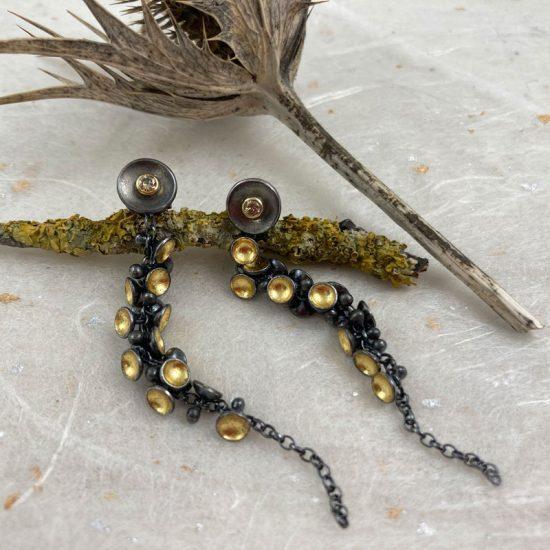 Oxidised silver Cluster drop Earrings with detachable brown diamond studs, Jenifer Wall