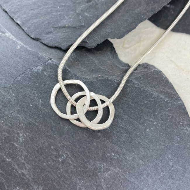Silver Triple small flat links pendant on silver snake chain by Samantha Maund